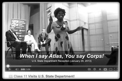 Fellow Cleopatra leads cheers at State Department